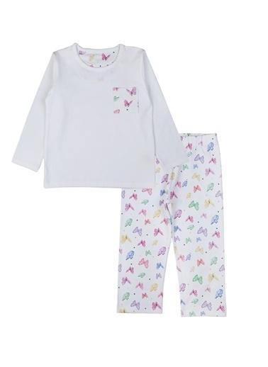 Nila Kids Butterfly Organik Pamuk Pijama Takımı Beyaz